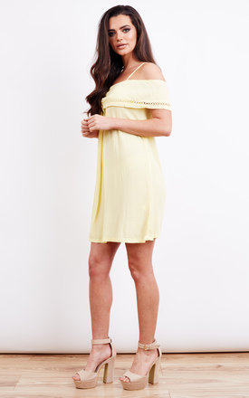 Cold Shoulder Frill Top Lemon Summer Dress by Lola May