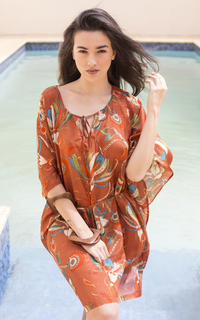 Orange Tropical Kaftan in Cotton and Silk Blend by likemary