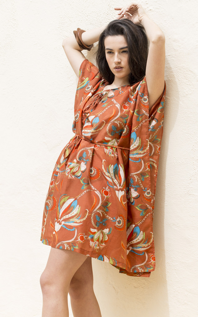 Kaftan Cover Up Cotton and Silk Blend Orange Tropical Print by likemary