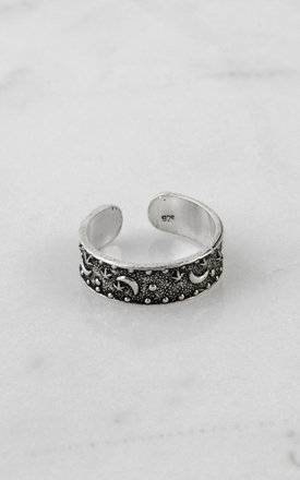 Moon And Star Sterling Silver Midi Ring by DOSE of ROSE Product photo