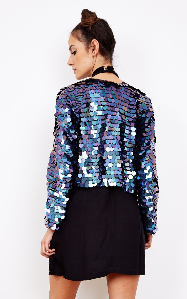 Show Pony Sequin Jacket in Petrol by Indigo East