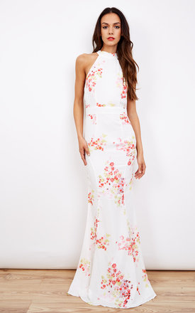 Pink Floral High Neck Tye Maxi Dress by Jarlo Product photo