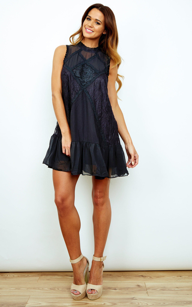 Sleeveless High Neck Victorian Lace Dress In Black by Bella and Blue