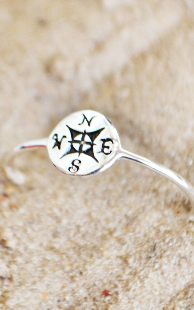 Lost Sterling Silver Compass Ring by Wanderdusk