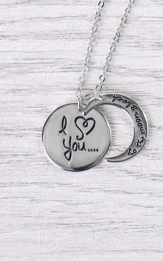 "I ♥ You To the Moon and Back"" Crescent Pendant Necklace by Arcus Accessories"