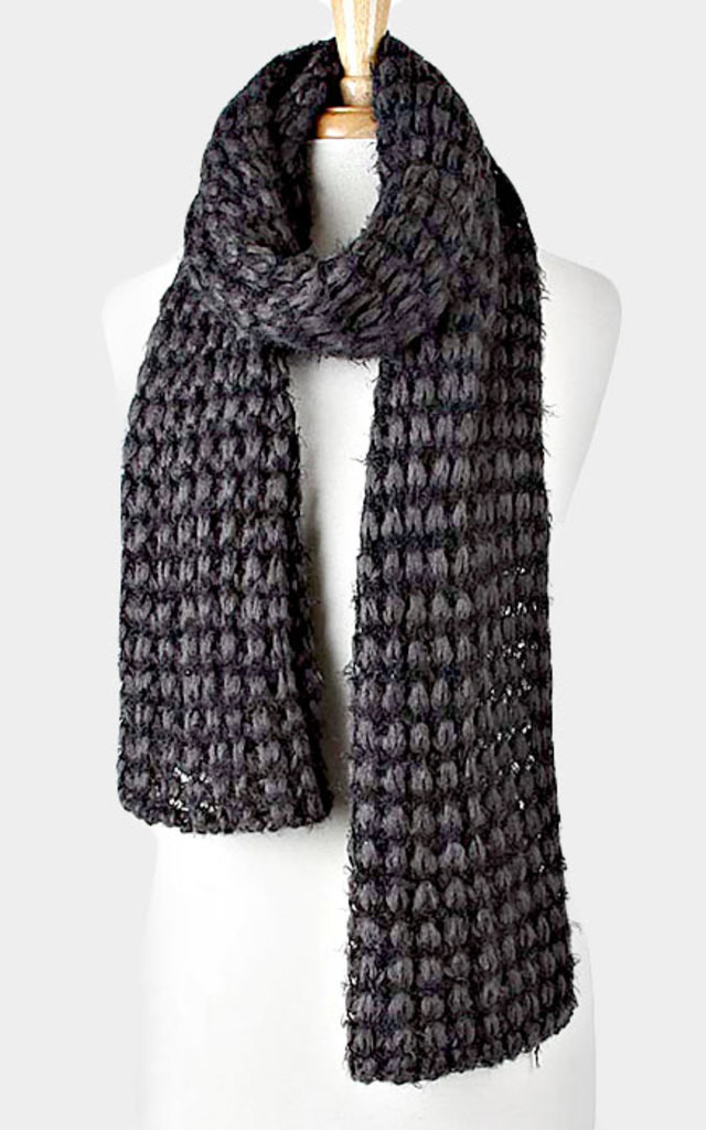 Black Ombre Yarn Knit Scarf by Arcus Accessories