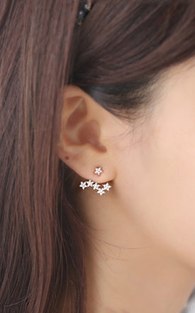 Starburst Two Way Earrings In White Gold by DOSE of ROSE Product photo