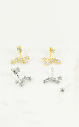 Starburst Two Way Earrings In White Gold by DOSE of ROSE