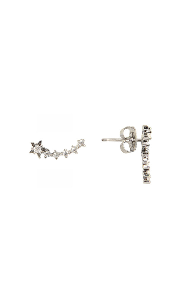 Shooting Star Stud Earrings In White Gold by DOSE of ROSE