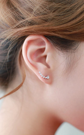 Shooting Star Stud Earrings In White Gold by DOSE of ROSE Product photo