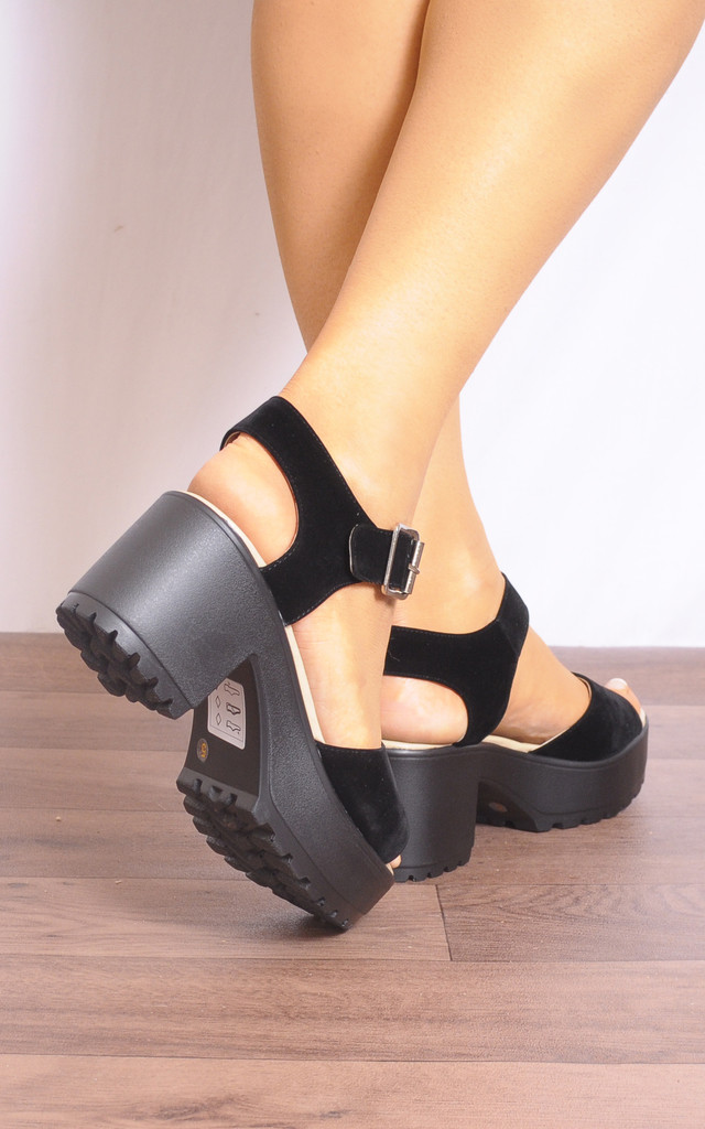 Black Cleated Platforms Peep Toes Strappy Sandals by Shoe Closet