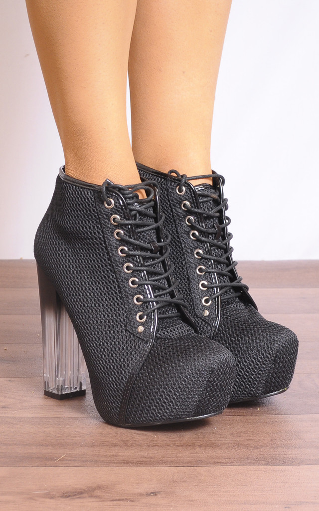 Black Mesh Glass Heel Concealed Platforms Ankle Boots by Shoe Closet