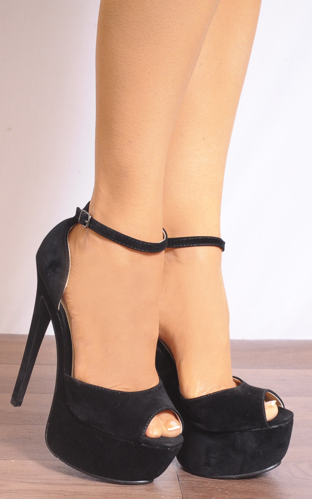 Black Barely There Platforms Stilettos Strappy Sandals by Shoe Closet
