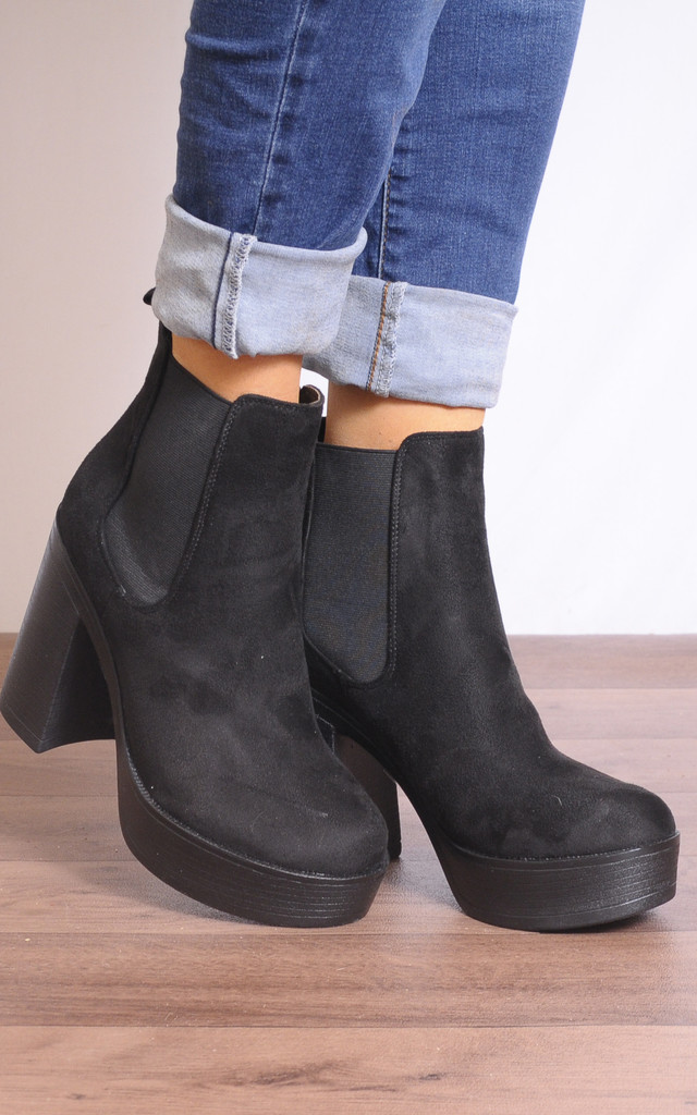 Black Faux Suede Chelsea Elastic Ankle Boots Platforms High Heels by Shoe Closet
