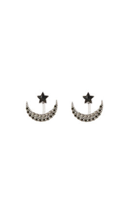 Crescent Two Way Earrings In Black by DOSE of ROSE
