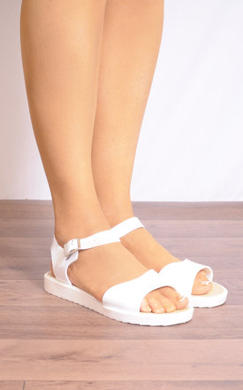 White Rubber Flatforms Peep Toes Strappy Sandals by Shoe Closet