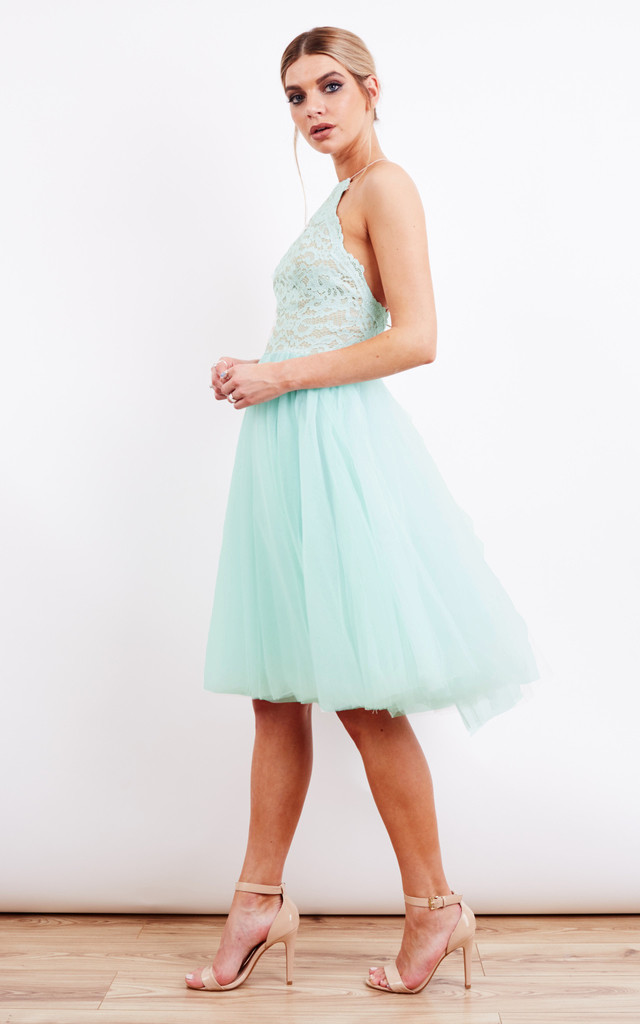 Mint Prom Dress With Lace Top by Jarlo