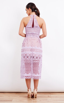 Lilac Halter Neck Cut Out Midi Dress by Jarlo