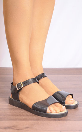 Black Rubber Flatforms Peep Toes Strappy Sandals by Shoe Closet