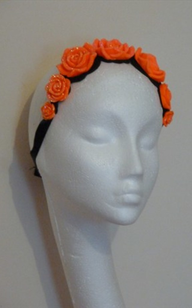 Orange crystal rose headband by Kate Coleman