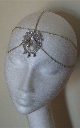 Silver crystal 3 way headdress headpiece by Kate Coleman