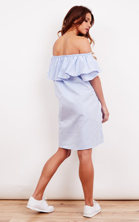 Blue Stripe Frill Cold Shoulder Summer Dress by Lilah Rose
