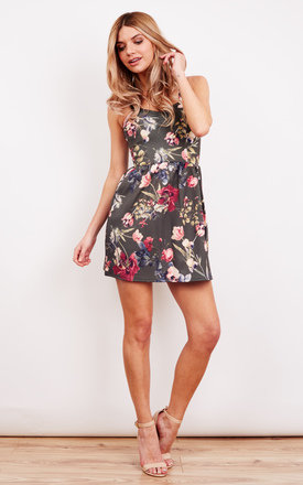 Sweetheart Neck Khaki Flower Skater Dress by Bella and Blue