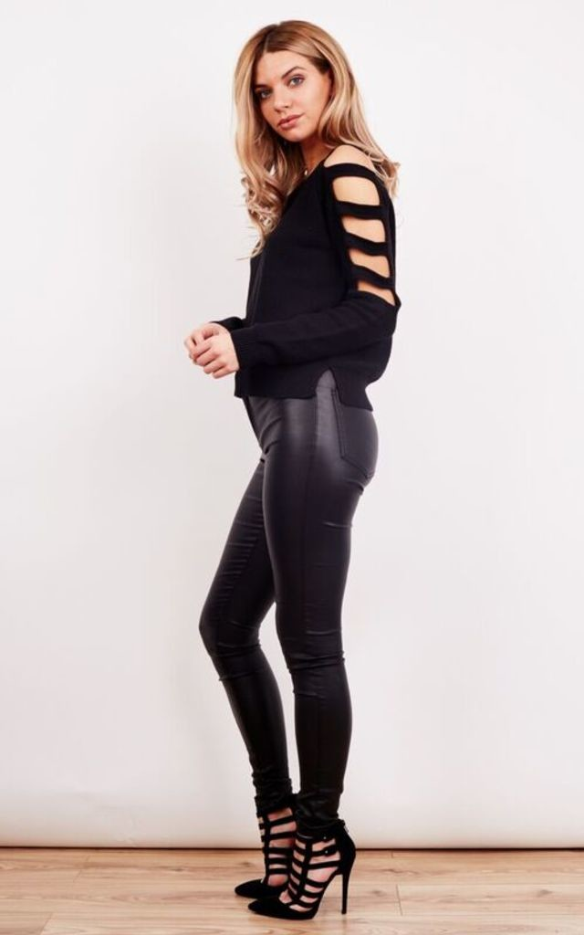 Black Cut Out Arm Long Sleeve Knitted Top by Noisy May