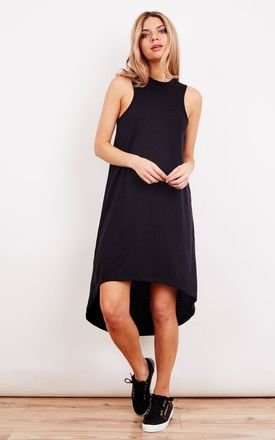 Black Round Neck Dipped Hem Midi Dress by Noisy May Product photo