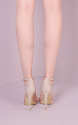 Strapped Barely There Heeled Sandals Nude by LILY LULU FASHION