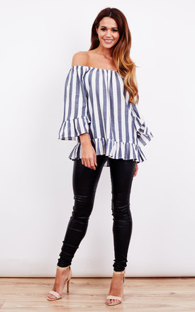 Off Shoulder Blue And White Stripe Frill Detail Top by Glamorous Product photo