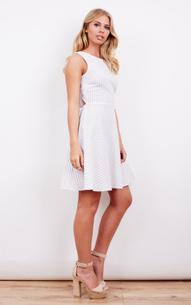 WHITE AND BLACK THIN STRIPE TIE BACK SKATER DRESS by Glamorous
