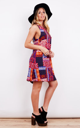 ORANGE AND PINK PATCHWORK PRINT SHIFT DRESS by Glamorous