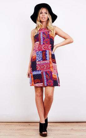 Orange And Pink Patchwork Print Shift Dress by Glamorous Product photo