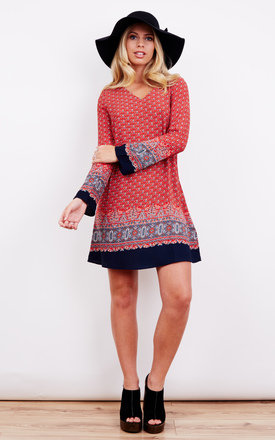 Red Navy Border Long Sleeve Mini Dress by Glamorous Product photo