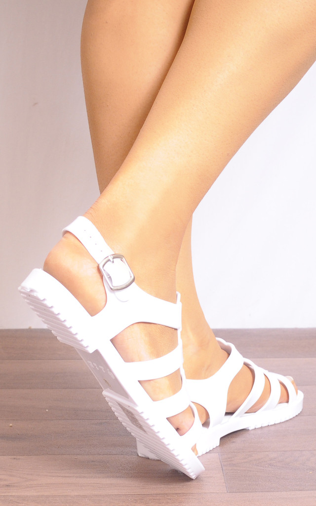 White Jelly Rubber Flat Strappy Sandals by Shoe Closet