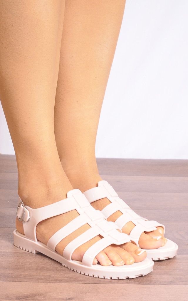 Nude Jelly Rubber Flat Strappy Sandals by Shoe Closet