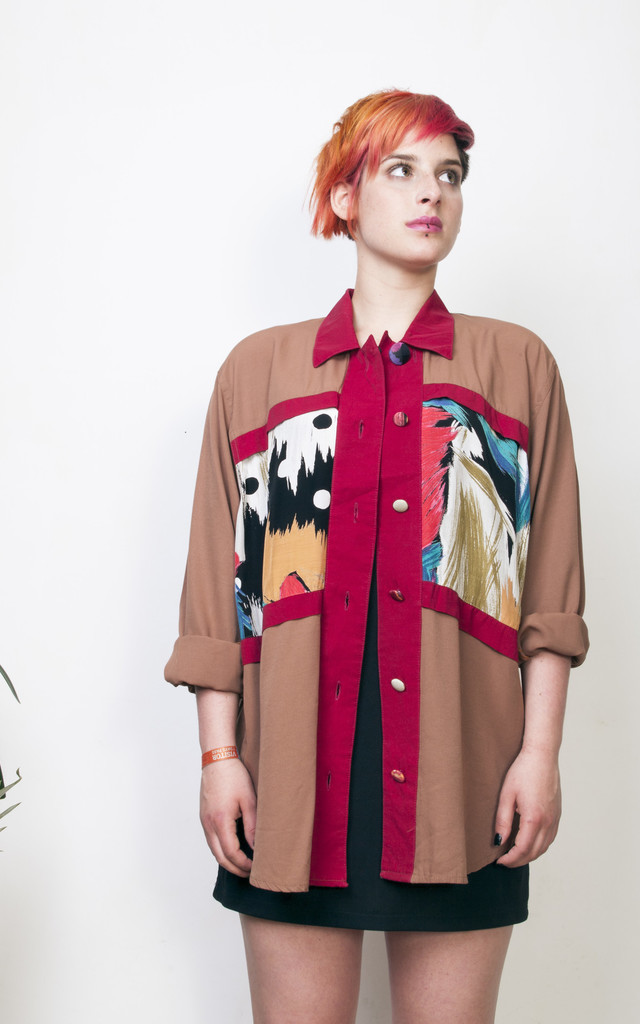 Brown printed shirt 90s oversized long sleeved vintage blouse by Pop Sick Vintage