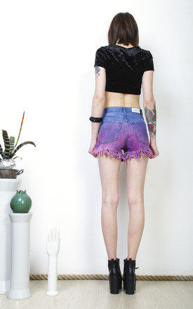 Tie dye shorts 90s purple ombre fringe high waisted denim by Pop Sick Vintage
