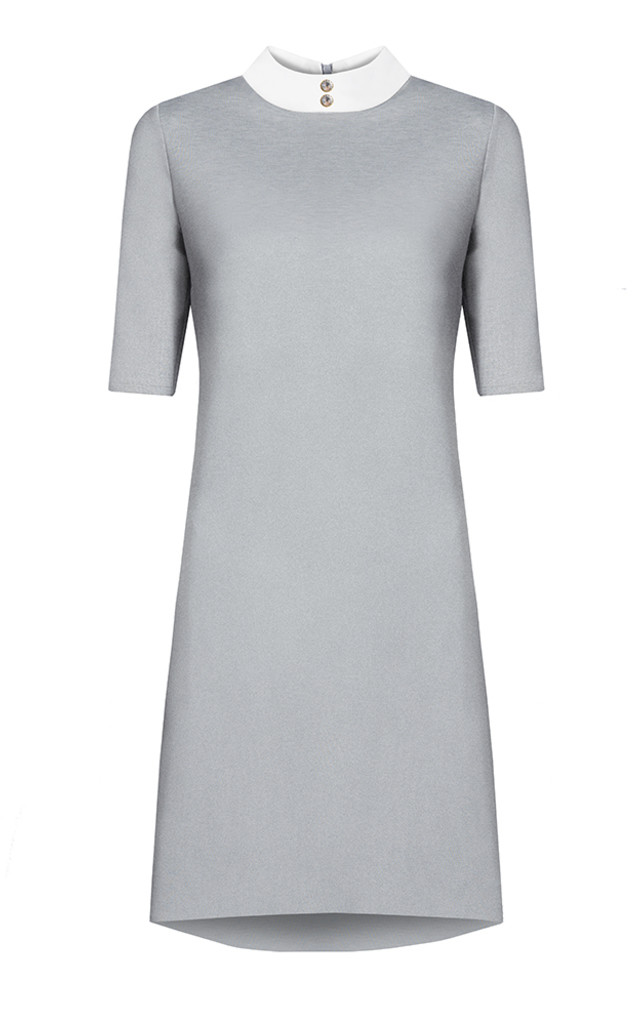 GREY DRESS WITH WHITE STAND-UP COLLAR by KASIA MICIAK