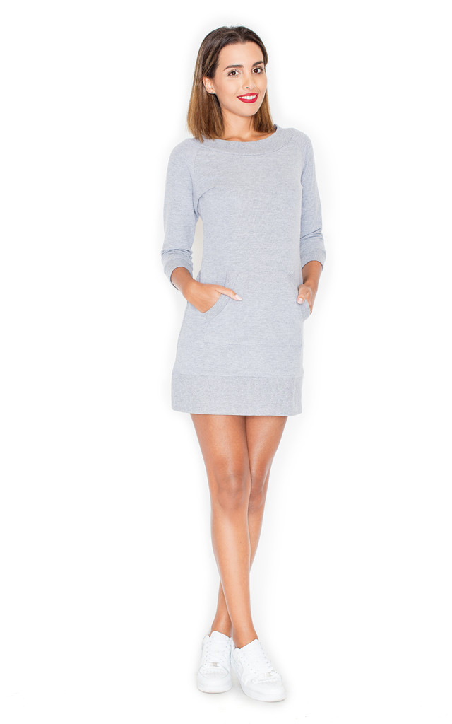 Grey Long Sleeve Jumper Dress With Front Pockets by KATRUS