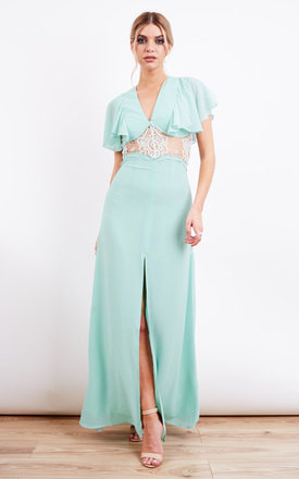 Soft Mint Lace Insert Frill Sleeve Maxi Dress by Jarlo Product photo