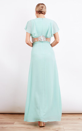 Soft Mint Lace Insert Frill Sleeve Maxi Dress by Jarlo