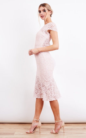 Nude Pink Lace Cap Sleeve Cut Out Back Fishtail Midi Dress by Jarlo