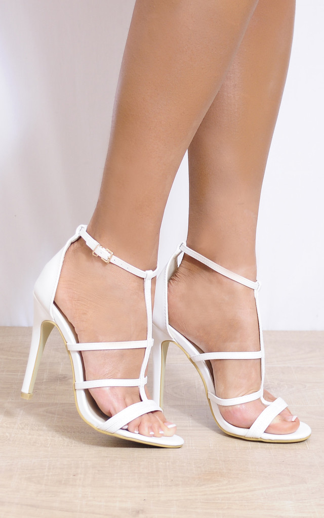White Faux Leather Strappy Sandals Stilettos High Heels Shoes by Shoe Closet