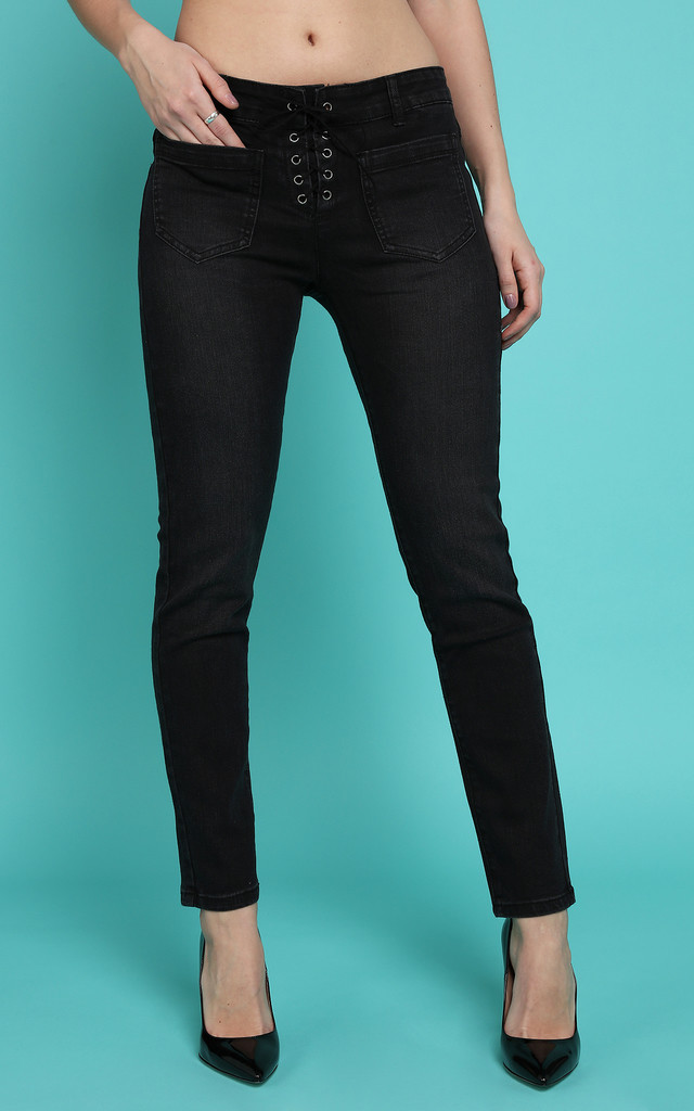 Lace Up Front Charcoal Skinny Jeans by Jezzelle