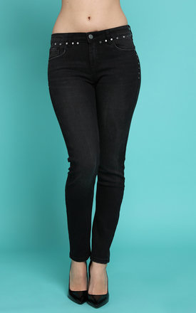 Studded Details Charcoal Skinny Jeans by Jezzelle