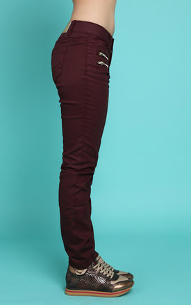 Golden Zips Burgundy Trousers by Jezzelle