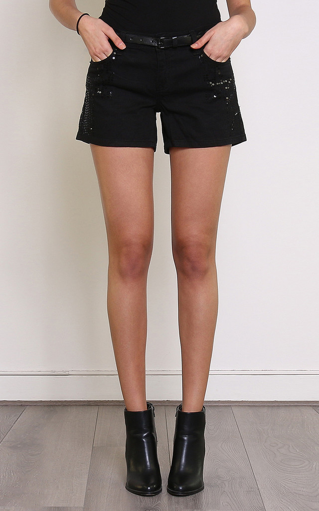 Sequinned & Belted Smart Shorts by Jezzelle