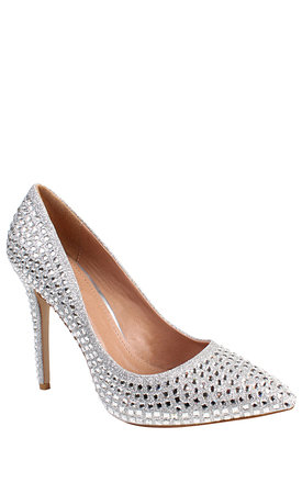 Encrusted Silver Stiletto Shoes by Jezzelle